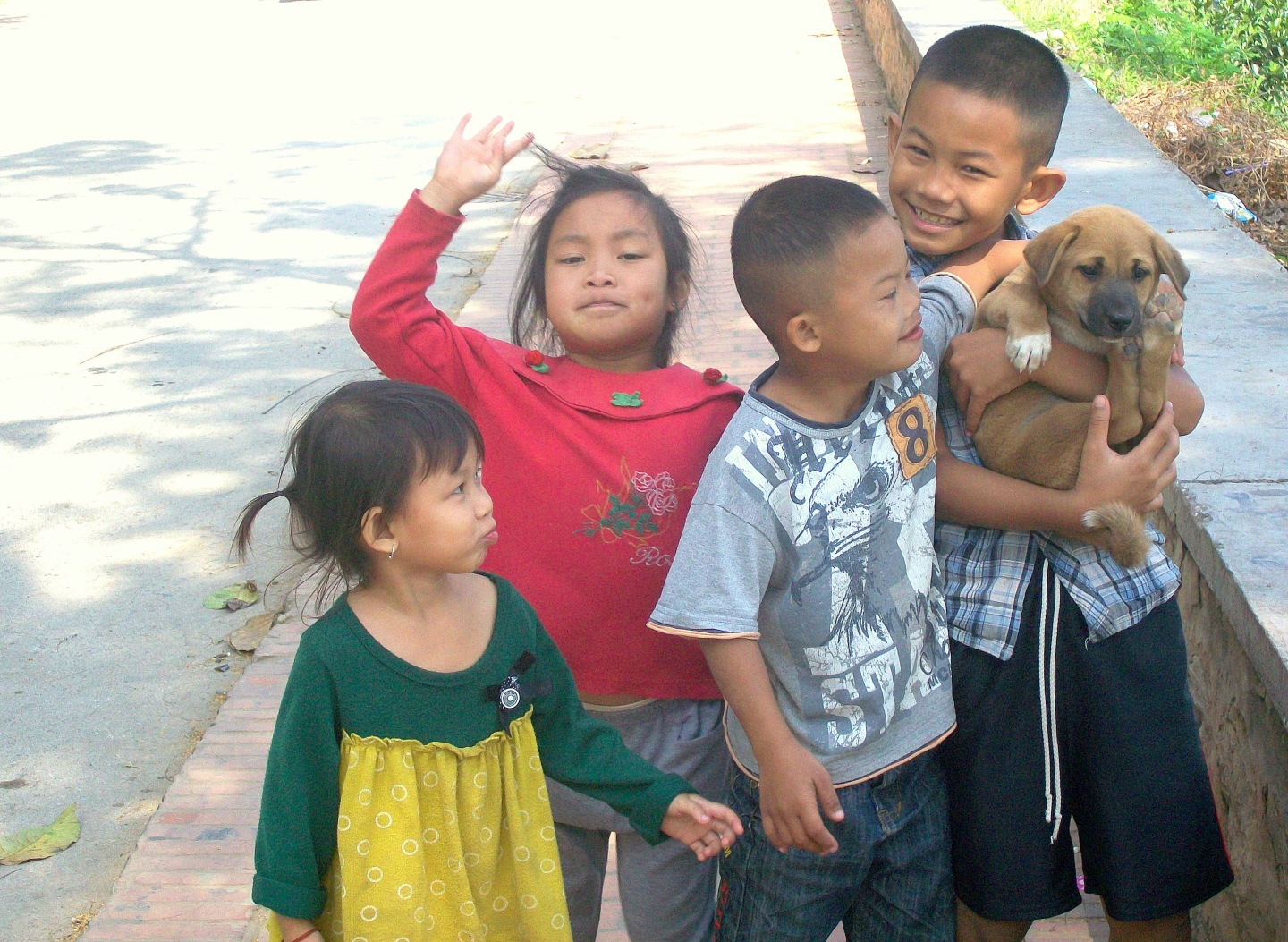 Children with New Friend - Luang Prabang, Laos