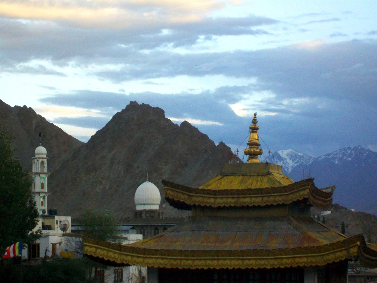 Top of Stupa, Dome & Minaret of Mosque - Ley, Ladakh - Himalaya Mountains
