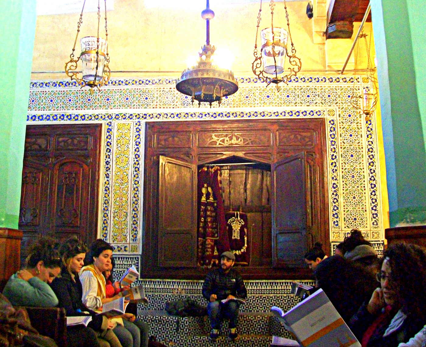 Jewish Tourists Inspired by the Sacredness of the Ibn Danan Synogogue (17th Cen.) Fes